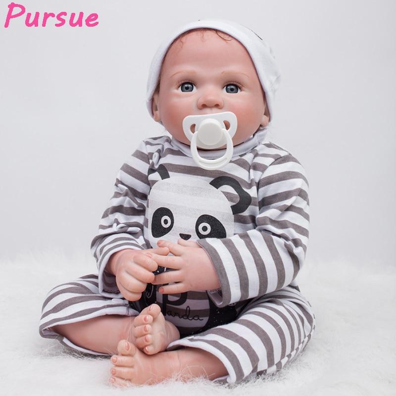 цена на Pursue 53 cm Cheap Big Brown Eyes Reborn Boy Baby Dolls for Sale Silicone Reborn Lifelike Baby Dolls boneca bebe reborn realista