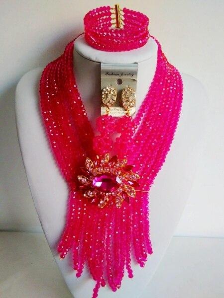 Мода Фуксия Розовый Женщины Кристалл Ожерелья Африканские Бусы Комплект Ювелирных Изделий Для Нигерийского Свадьбы Бесплатная Доставка ABG260