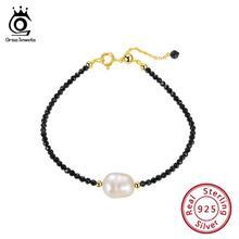 цена ORSA JEWELS Sterling Silver Women Bracelets With Red Natural Stone Black Gemstone Pearl Bracelet 18K Gold Plated Jewelry OSB48 онлайн в 2017 году