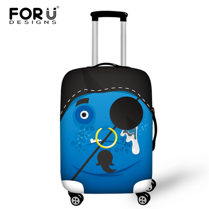 FORUDESIGNS Funny Elastic Dust-proof Waterproof 3D Smile Face Cover for 18-30 Inch Trolley Bag Travel Luggage Suitcase Protector