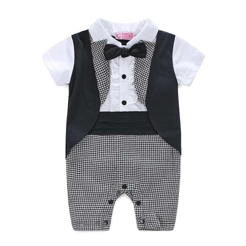 Baby Gentleman Romper Spring Baby Newborn Clothes European Style Mamelucos Para Bebes Casual Cartoon Infant Clothing in Rompers from Mother Kids