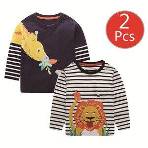 Image 4 - SAILEROAD 2 Pcs Escavatore Ragazzi di Stampa Manica Lunga Magliette e camicette per Abbigliamento per Bambini 4 Anni I Bambini Piccoli t shirt di Cotone Vestiti per Bambina