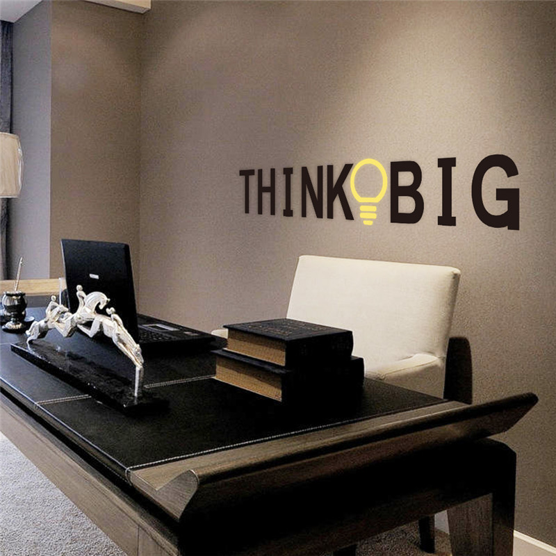 % Vinyl Quotes Wall Stickers THINK BIG Removable Decorative Decals for office Decor Wall Sticker Decal Mural Home decoration
