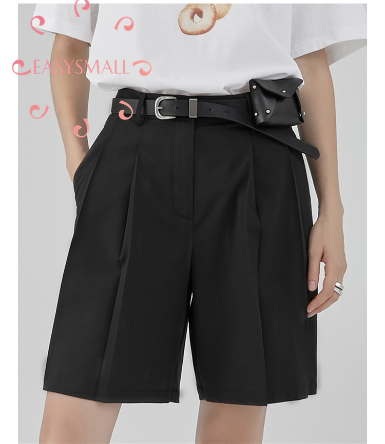 EASYSMALL femmes shorts mode style campagnard frais haut de gamme Vestidos streetwear taille haute lâche taille haute jambe large costume court