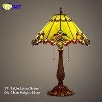 Фумат пятнистости Стекло настольная лампа барокко Европейский Стиль ночники Тенты Винтаж Ретро Гостиная прикроватной тумбочке светильник