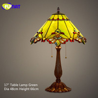 FUMAT Stained Glass Table Lamp Baroque European Style Bedside Lamp Shade Vintage Retro Living Room Bedside Light Fixtures Lamps