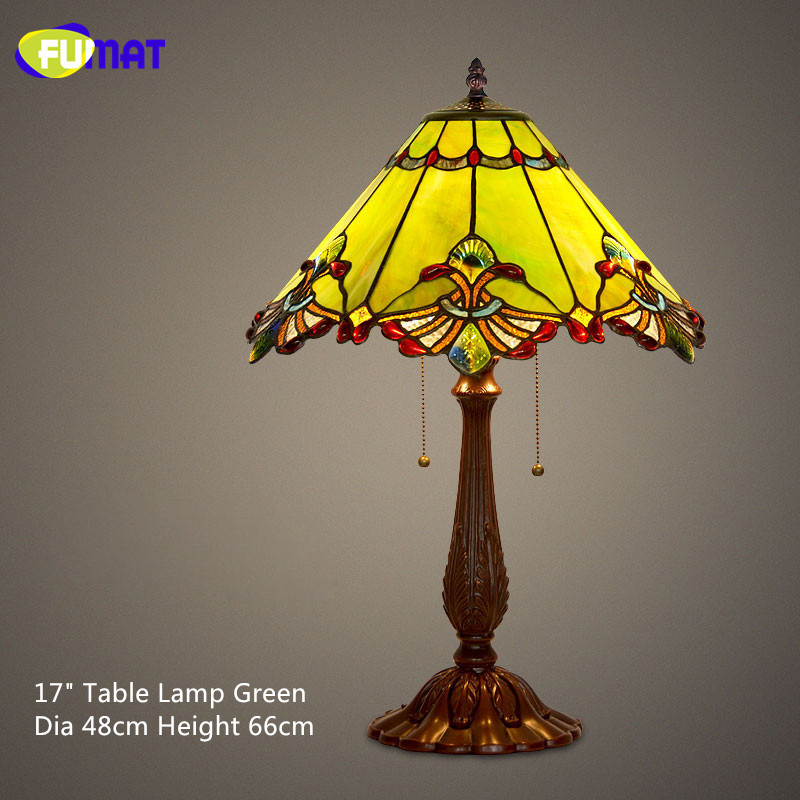 FUMAT Stained Glass Table Lamp Baroque European Style Bedside Shade Vintage Retro Living Room