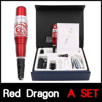 1 Set Original Taiwan Red dragon Small Tattoo Machine Kit With Tattoo Gun and Needles For Permanent Eyebrow and Lip Munsu Makeup