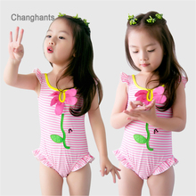 Baby Girls Swimwear Pink Striped with flower Pattern 1-8Y Kids Swimming wear Children One Piece Bathing Suit Summer Beach Wear