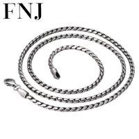 FNJ 2mm Rope Chain Necklaces 925 Silver 45cm to 75cm Fashion Original S925 Thai Silver Women Men Necklace for Jewelry Making