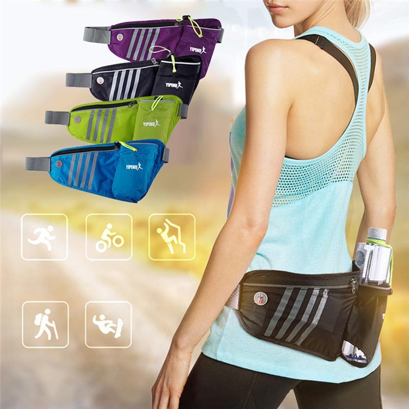 Outdoor Running Sport Waist Pack Men Women Waterproof Belt Bag Fanny Pack with Bottle Holder
