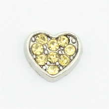 Hot selling! 10pcs November birthstone crystal heart floating charms for floating locket