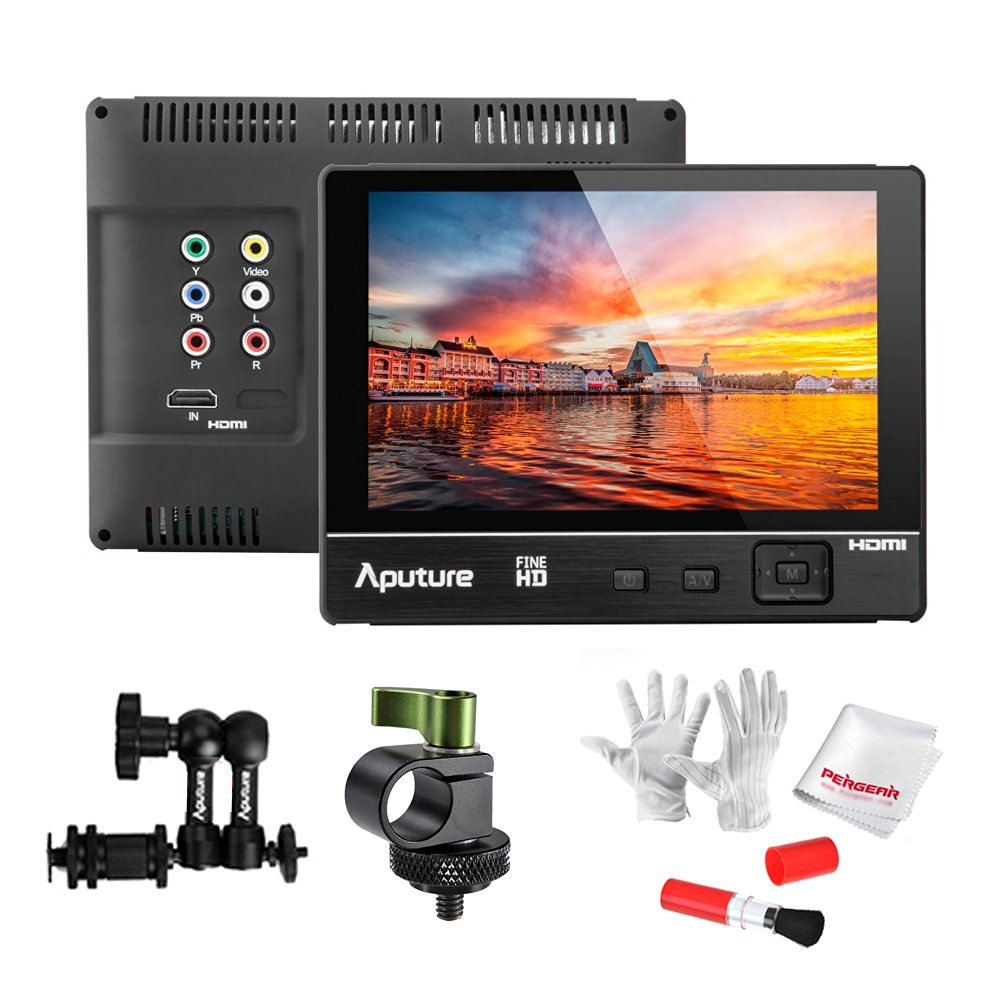 Aputure VS-2 FineHD 1920*1200 LCD 7 Field Monitor with Sunshade +Battery +Monitor Arm +15mm Rod Clamp and Pergear Cleaning Kit new aputure vs 5 7 inch 1920 1200 hd sdi hdmi pro camera field monitor with rgb waveform vectorscope histogram zebra false color