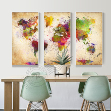 3 Panel Canvas Wall Art Abstract Oil Painting Watercolor World Map Pictures For Living Room Print Unframed BR0063