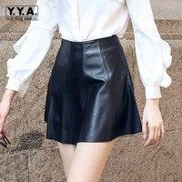 2018 Новое поступление женские короткая юбка модные из натуральной кожи однотонная женская юбка элегантный тонкий Высокая талия плиссирован