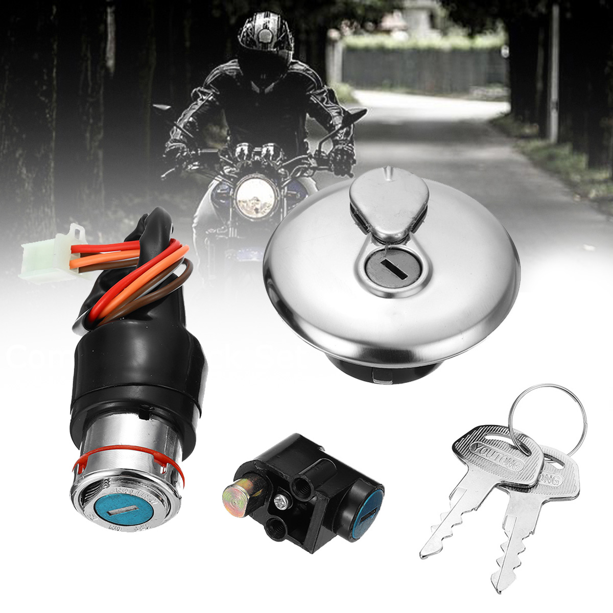 Motocross Bike Complete Lock Set Ignition Main Switch 2 Keys Petrol Cap For Suzuki GN125 GN 125 Motorcycle Moto Accessories