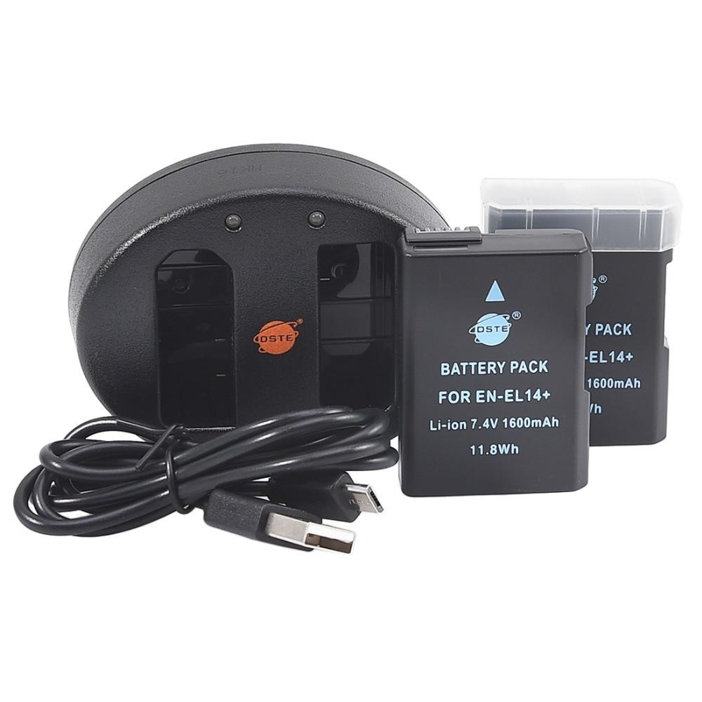 DSTE 2 PCS EN-EL14 en-el14 Batterie per Foto/Videocamera con Doppio Caricatore Usb PER nikon D3100 D5100 D5200 D5300 DF P7000 P7100 P7200 d3500DSTE 2 PCS EN-EL14 en-el14 Batterie per Foto/Videocamera con Doppio Caricatore Usb PER nikon D3100 D5100 D5200 D5300 DF P7000 P7100 P7200 d3500