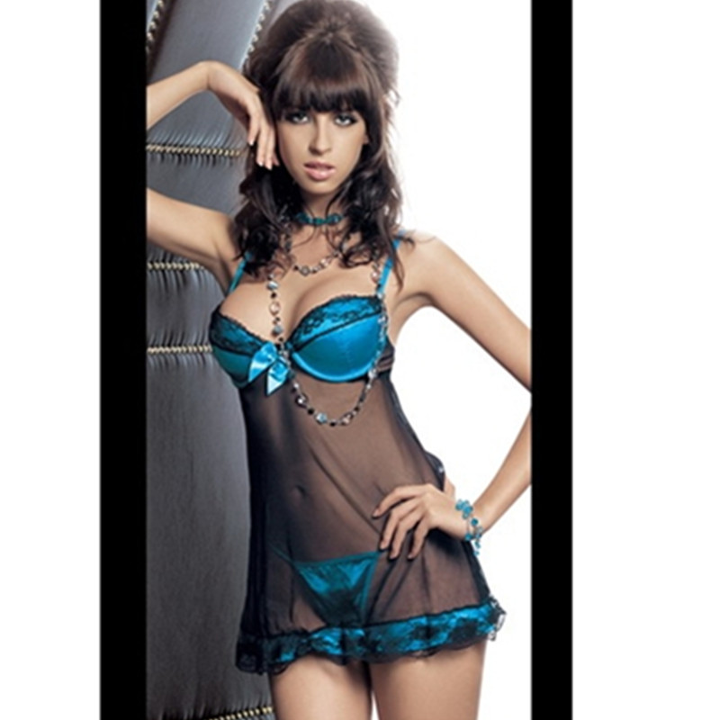 Free Shipping Woman Satin Bra Peacock Blue+Black See-through Sexy Lingerie Mini Slip with Scalloped Lace Trim Crop Top Nightwear