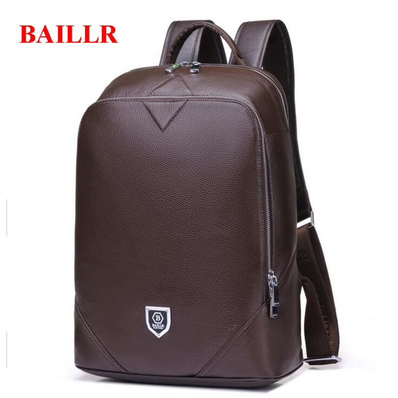 BAILLR Genuine Leather Backpack Male Laptop Computer Bags Waterproof Travel Bag School Bags Men Of God Daypacks Backpack M493 marrant genuine leather backpacks men shoulder bag men bag leather laptop bag 15 inch men s luggage travel bags school backpack