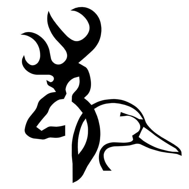 12.3cm*13.5cm Browning Deer Duck Cartoon Personalized Car Stickers And Decals Black Silver S6-2679