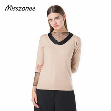Misszonee cotton  Hollow Out Women Mesh sweater solid pullovers V-Neck 2017 autumn new high street style Basic sweaters