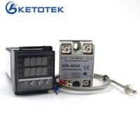 Двойной цифровой PID Температура контроллер термостат REX-C100 термопары K ССР 40A SSR-40DA 110 В 220 В Питание