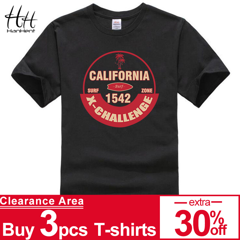 HanHent California Surfzone Print t-shirt voor heren Bodybuilding shirt Heren T-shirt Casual shirts Herenkleding Beach onderhemdje