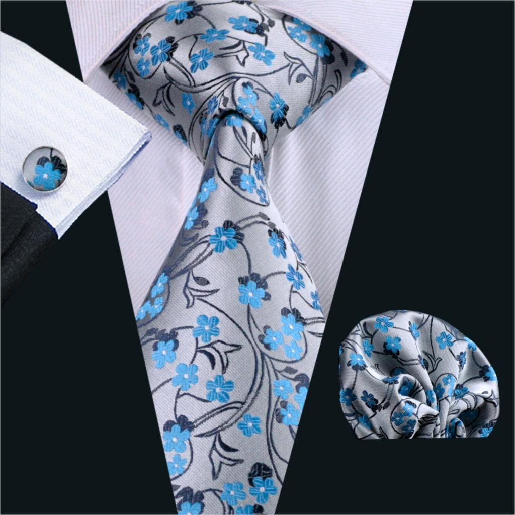 FA-999 Barry.Wang Mens Ties Grays Floral Silk Jacquard Tie Hanky Cufflinks Set Men's Business Gift Ties For Men Free Shipping