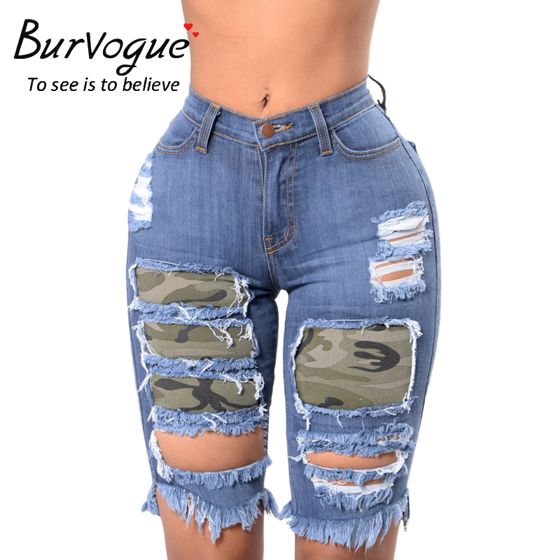 8703e2fc0c Burvogue Women High Waist Jeans Sexy Frayed Destroy Bermuda Denim Camo  Ripped Hole Washed Distressed Short Jeans Fashion Pants