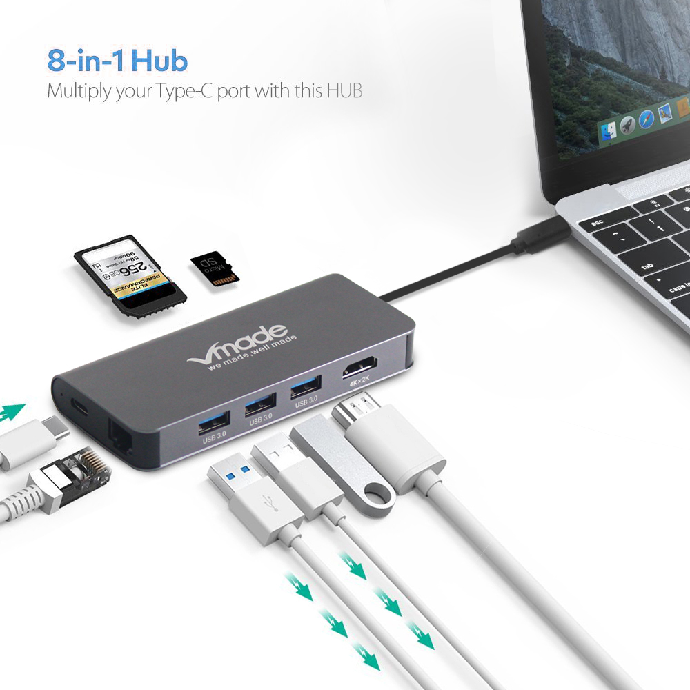 Vmade USB C Hub To HDMI Adapter Thunderbolt 3 USB C Hub Dock With USB 3.0 Hub PD TF SD Card Reader For Macbook Pro Type C