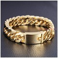 """8.5""""x14mm New Charming Gold Plated Tone Link Mens Jewelry 316L Stainless Steel Curb Cuban Chain Bracelet Bangle Good Gift"""