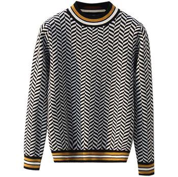 2018 Женский вязаный свитер с круглым вырезом в английском стиле в клетку в ретро-стиле >> Soffies Store