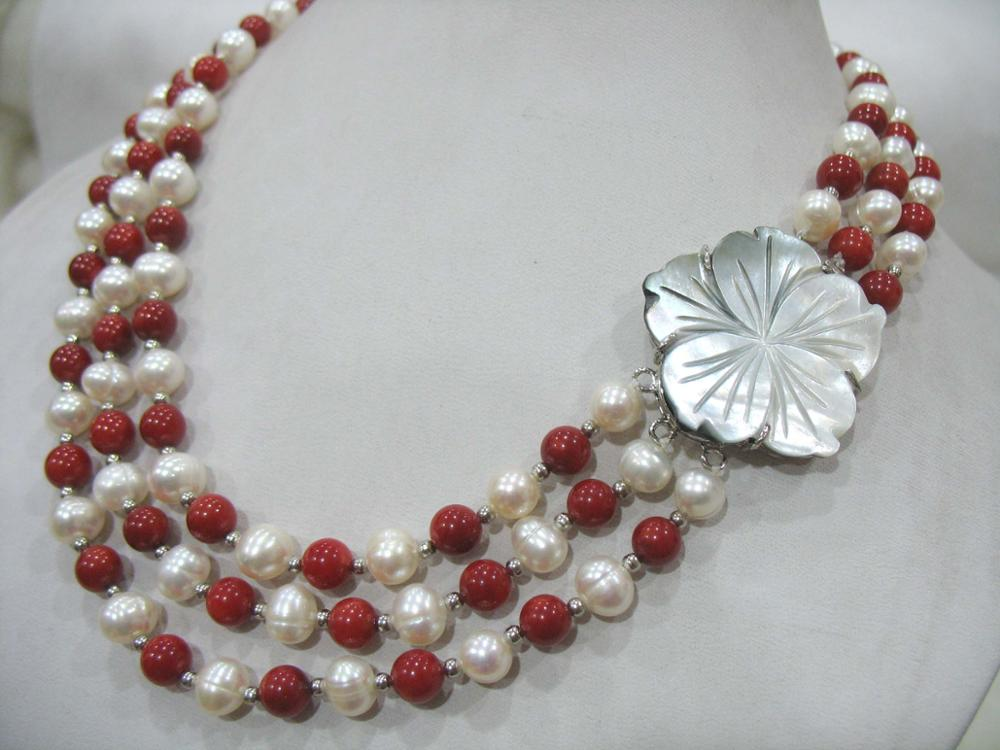 3rows freshwater pearl white and red coral  7-8mm  round 17-19inch wholesale nature beads FPPJ 3rows freshwater pearl white and red coral  7-8mm  round 17-19inch wholesale nature beads FPPJ