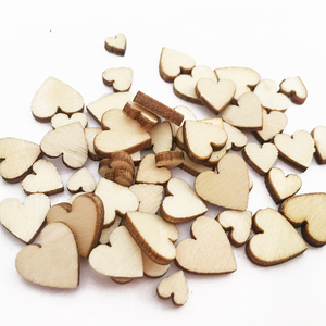 100pcs Love Heart Shape Wood Wooden Craft for Wedding Table Home Decor DIY Birthday Decoration Party Favor Scrapbooking 62071(China)