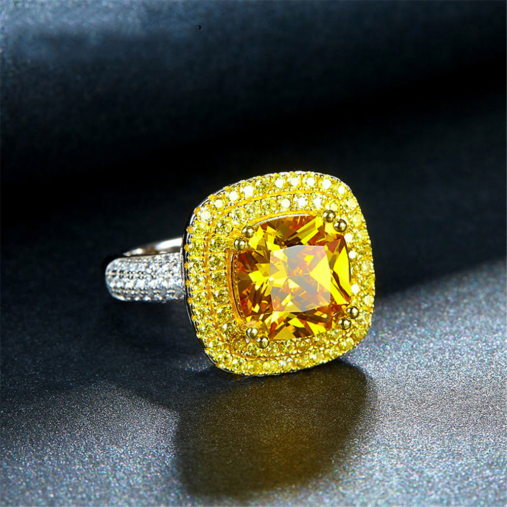 OneRain Luxury 100% 925 Sterling Silver Citrine Diamonds Wedding Engagement Cocktail Party For Women Ring Jewelry Wholesale