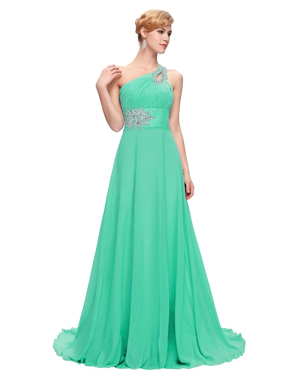 Elegant One Shoulder Long Bridesmaid Dress 10