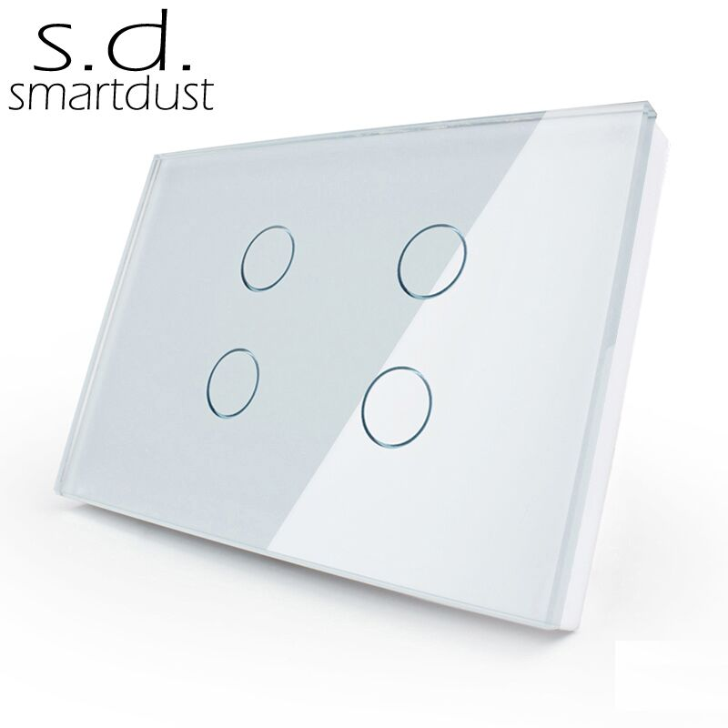 Smartdust US Standard Home Kit Switch 4 Gang 1 Way Touch Button Switch Glass Panel interrupteur Villa Home Light Wall Switch