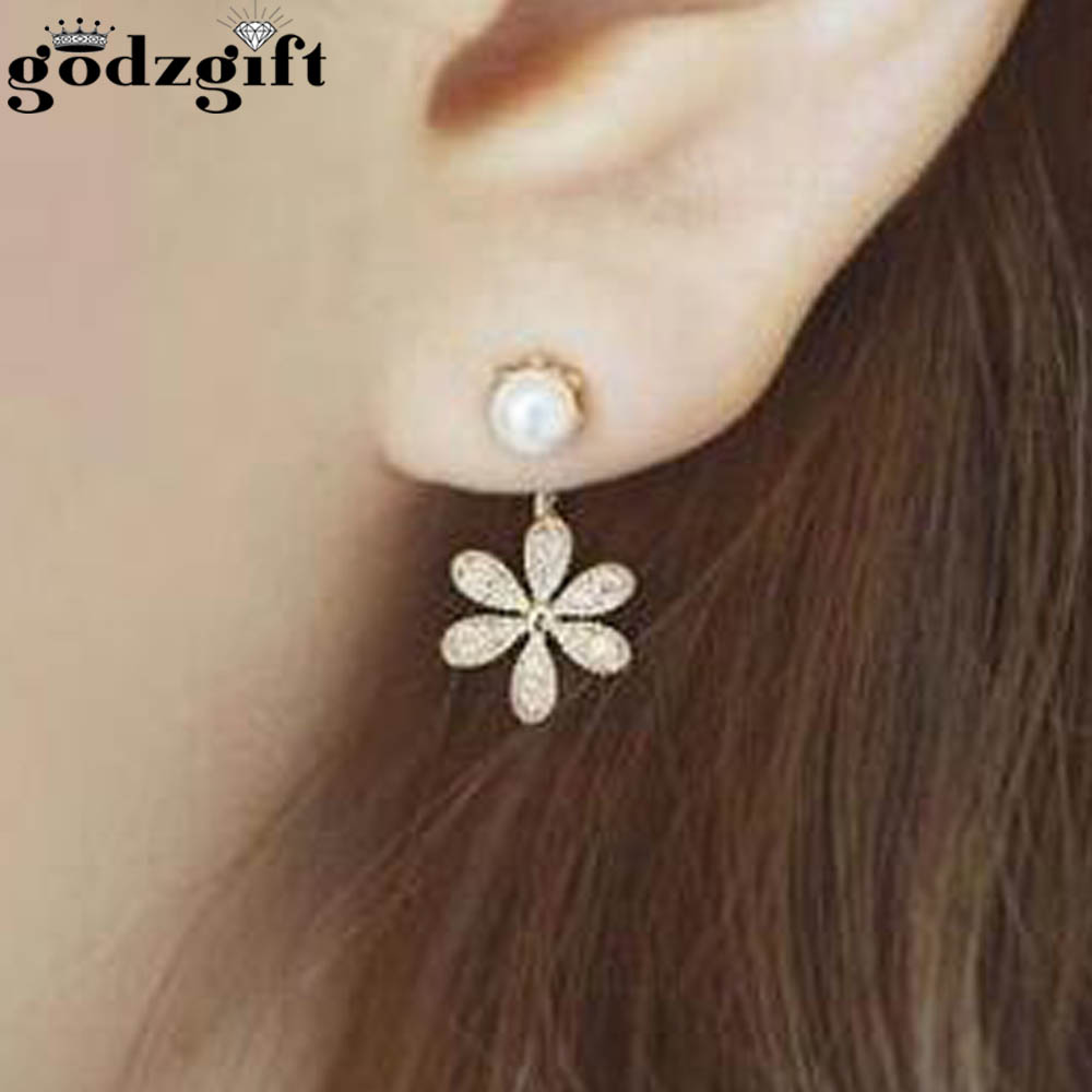 Godzgift Fashion Crystal Flower Geometry Stud Earrings For Women Romantic Rose Earring Jewelery Gifts New Alloy Bohemia JE5166