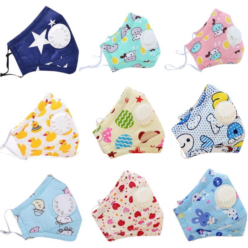 0-6T Infant Baby Cotton Anti Pollution PM2.5 Mouth Mask Colored Cartoon Milk Cow Animal Printed Dustproof Respirator With Filter
