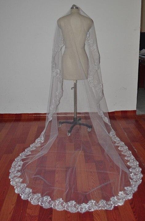300 см в длину! Новая мода Белая слоновая кость Аппликация Край Фата Свадебные аксессуары для вуалей OV0006