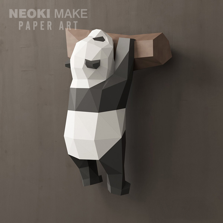 Creative Simple 3D Geometry Panda Home Wall Decoration Nordic Wind Paper Mould Handmade DIY Material Packing Ins Decoration