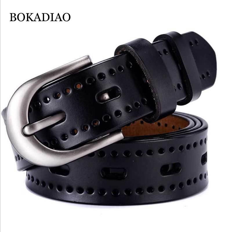 BOKADIAO Hot Women's Genuine Leather Belt Punk Luxury Brand Designer Belts For Women High Quality Casual Female Jeans Belt Black