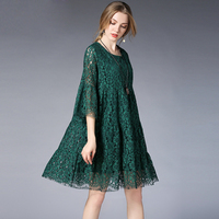 2019 plus size women floral lace loose dresses spring autumn three quarter sleeves pregnant women's hollow lace pleated dress
