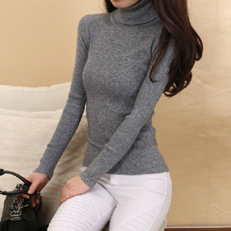 Vinterstrømpebukser Dame Cashmere Strikvarer Hot Sale Turtleneck Jumpers Woolen Pullovers Toppe Ladies Thick Knitting Standard Tøj