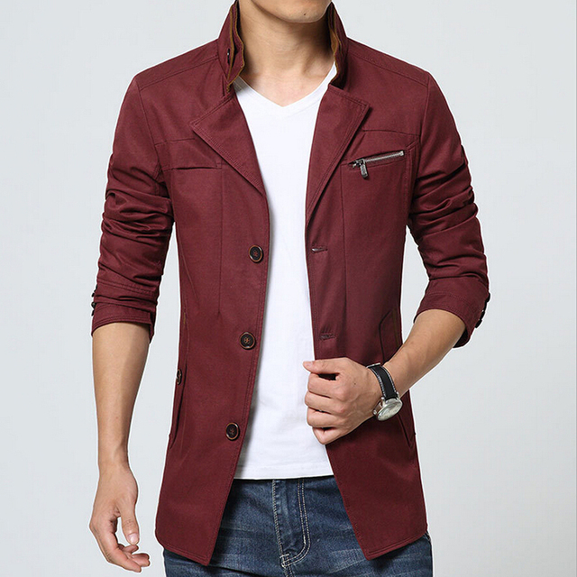 2016 Winter Men T-Shirt New Style Men Coat Blazer High Quality Single Breasted Outerwear Men Parka Long Sleeve Coat z0