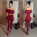 New arrival fashion Slash neck rompers womens jumpsuit sexy stretch strapless Bodysuit Flounced Skinny Party Playsuit crop top