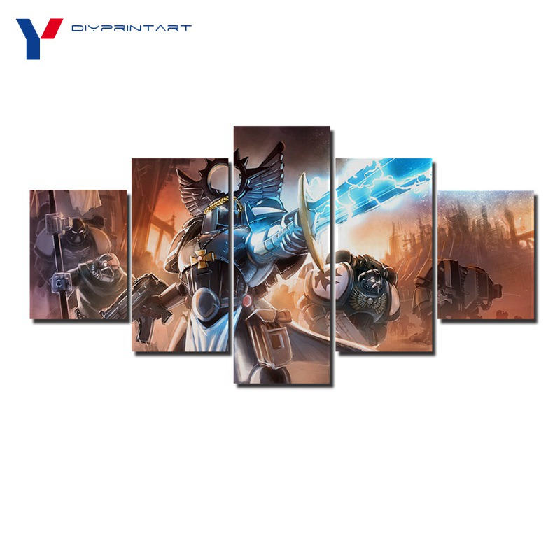 Warhammers 40k Lightning War 5 Pieces Canvas Print Painting House Decoration Living Room Decoration A0397
