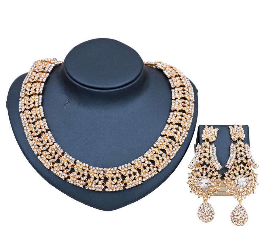 Women India Style Wedding Statement Jewelry Set Crystal Rhinestone necklace earrings Bridal Party Jewelry Accessories pair of statement rhinestone hollowed earrings