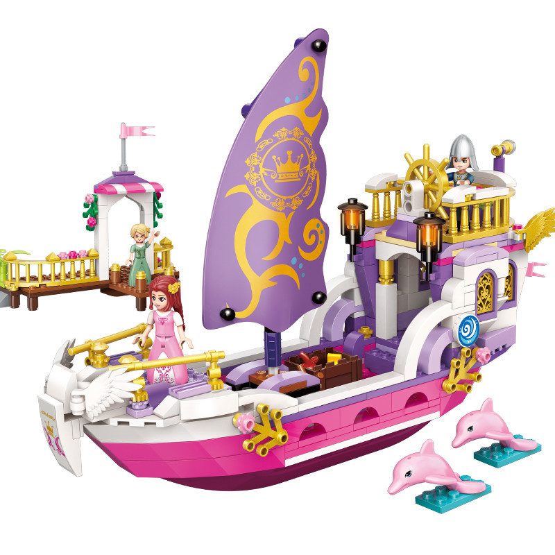 456PCS Princess Friends Sunshine Catamaran Dolphin Elves Figure Blocks Naida Epic Ship building Blocks Toys For Children XD320