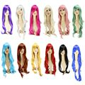 12 Colors Fashion Long Curly Cosplay Wig Anime Women Men Sexy Synthetic Hair Pink Sliver White Red Wigs Costume Peruca Pelucas